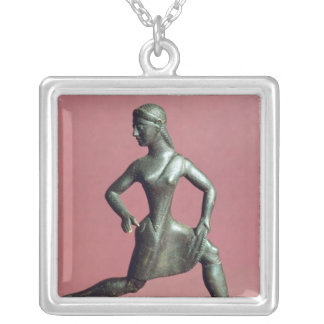 Figurine of a girl running, square pendant necklace