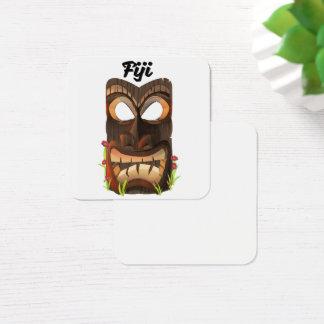 Fiji carved mask square business card