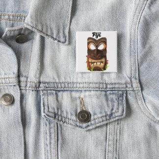 Fiji carved wooden face 15 cm square badge