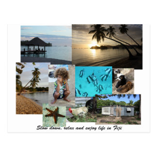 Fiji Collage from Malolo Leilei Island Post Card