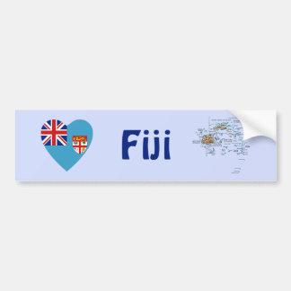 Fiji Flag Heart + Map Bumper Sticker