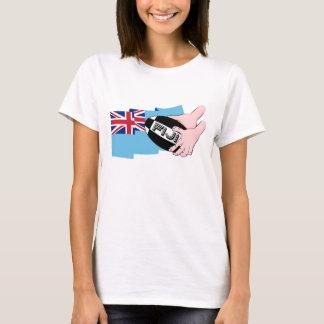 Fiji Flag Rugby Ball Pass Cartoon Hands T-Shirt