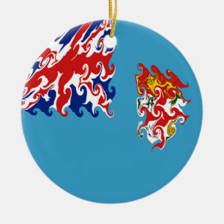 Fiji Gnarly Flag Round Ceramic Decoration