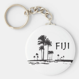 Fiji - Graphic Palm Trees Basic Round Button Key Ring