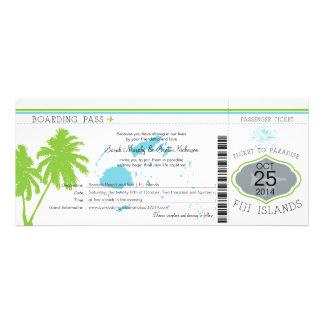 Fiji Islands Boarding Pass Wedding Personalized Invite