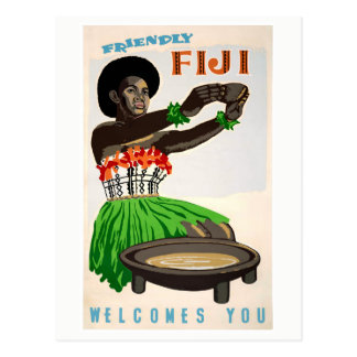 Fiji Restored Vintage Travel Poster Postcard
