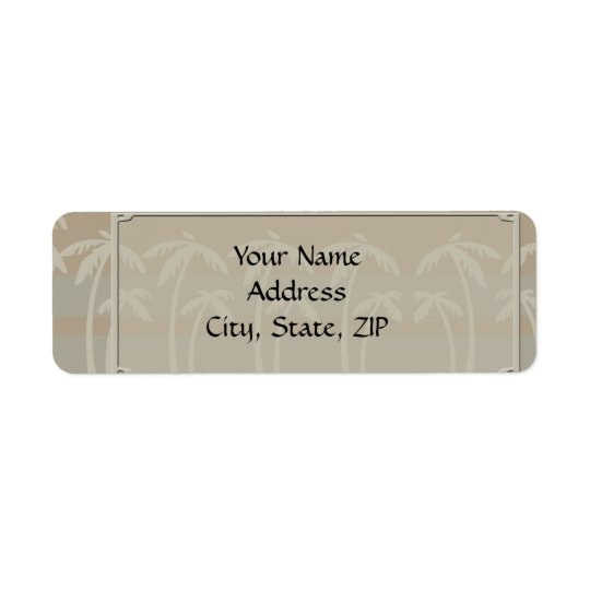 Fiji: Tropical Palm Trees in Taupe, Creme, Blue Return Address Label