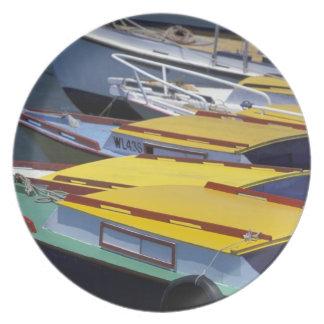 Fiji, Viti Levu, Lautoka, Small boats in Port of Dinner Plate