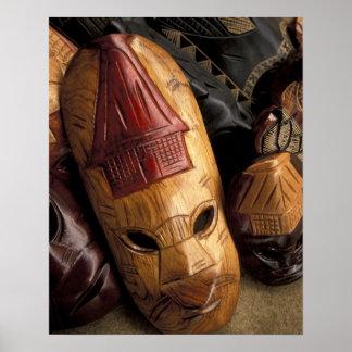 Fiji, Viti Levu Masks at a town market. Poster