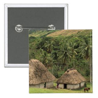 Fiji, Viti Levu, Navala, Traditional Bure houses 15 Cm Square Badge