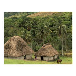 Fiji Viti Levu Navala Traditional Bure houses Post Cards