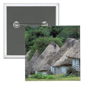 Fiji, Viti, Traditional hut houses. 15 Cm Square Badge