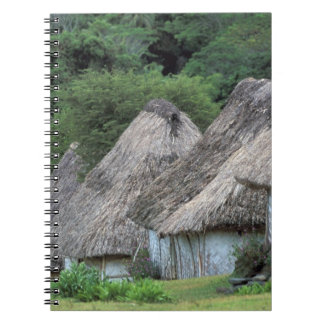 Fiji, Viti, Traditional hut houses. Spiral Notebook