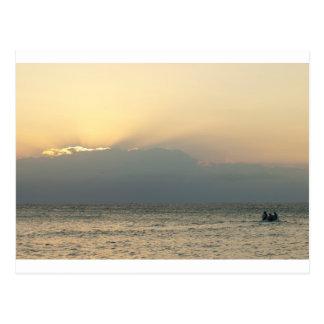 Fijian island boat postcard