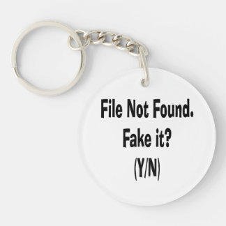 file not found black text funny computer design Double-Sided round acrylic keychain