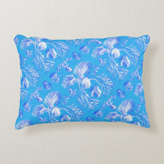 Filicinae on Blue Background Decorative Cushion