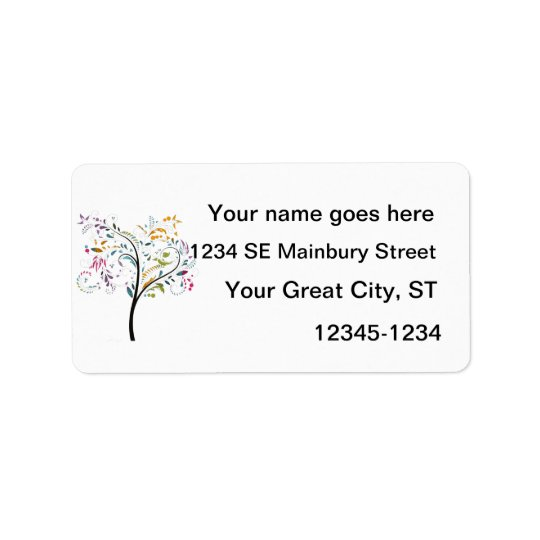Filigaree swirly colourful tree label