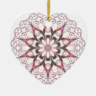Filigree Ametrine Healing Crystal Mandala Ceramic Heart Decoration