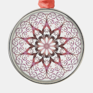 Filigree Ametrine Healing Crystal Mandala Silver-Colored Round Decoration
