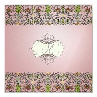 Filigree and Floral Vine/mauve pink 13 Cm X 13 Cm Square Invitation Card