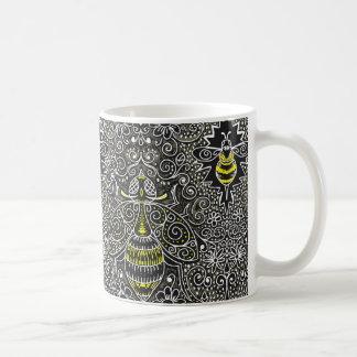 filigree bees coffee mug