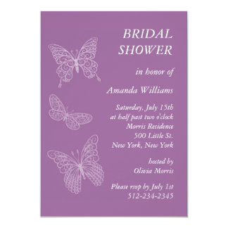 Filigree Butterfly Bridal Shower (purple) Card