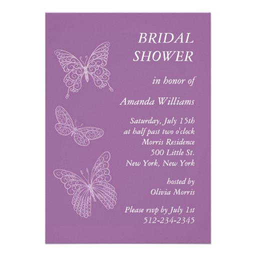 Filigree Butterfly Bridal Shower (purple) Personalized Invitation