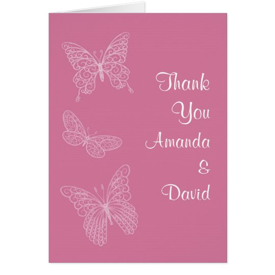 Filigree Butterfly Thank You Card (pink)