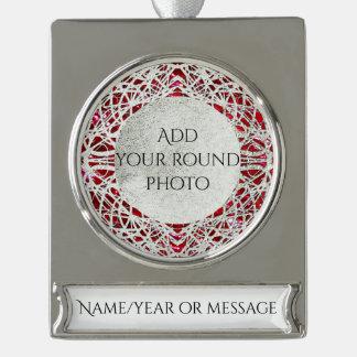 Filigree Circle Design in Silver Color Silver Plated Banner Ornament