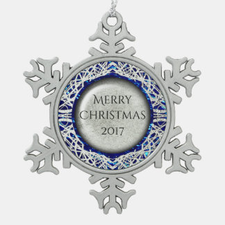 Filigree Circle Design in Silver Color Snowflake Pewter Christmas Ornament