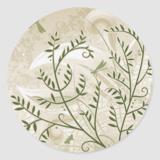 Filigree Ferns Classic Round Sticker