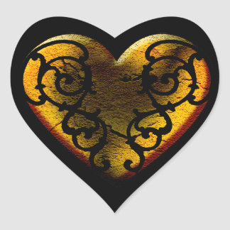 Filigree Goth Gold Heart Heart Sticker