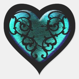Filigree Goth Ice Blue Heart Heart Sticker