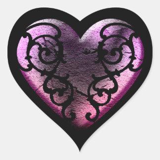 Filigree Goth Pink Heart Heart Sticker