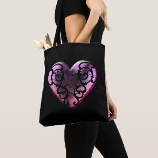 Filigree Goth Pink Heart Tote Bag
