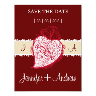 "Filigree Heart bordeaux invitation 4.25"" X 5.5"" Invitation Card"