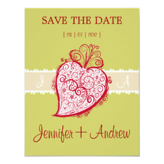 "Filigree Heart Green invitation 4.25"" X 5.5"" Invitation Card"