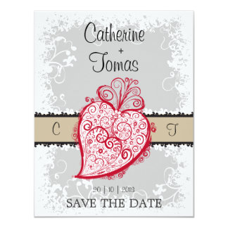"Filigree Heart - grey invitation 4.25"" X 5.5"" Invitation Card"