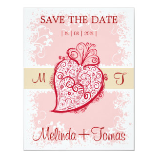 "Filigree Heart - pink invitation 4.25"" X 5.5"" Invitation Card"