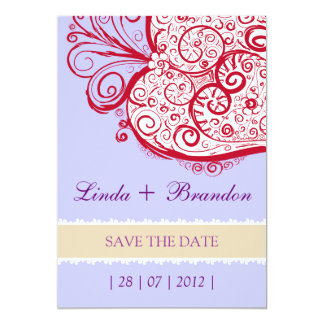 "Filigree Heart - violet invitation 5"" X 7"" Invitation Card"