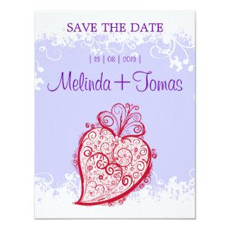 "Filigree Heart - (violet) invitation 4.25"" X 5.5"" Invitation Card"