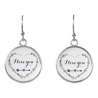 Filigree Heart with I Love You Drop Earrings