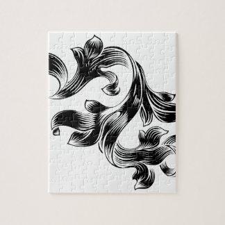 Filigree Heraldic Floral Pattern Scroll Design Jigsaw Puzzle