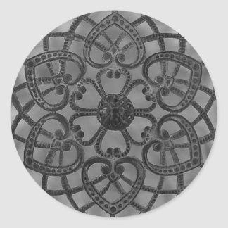 Filigree lacy pattern black metal classic round sticker