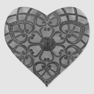 Filigree lacy pattern black metalwork heart sticker