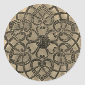 Filigree lacy pattern sepia abstract design classic round sticker