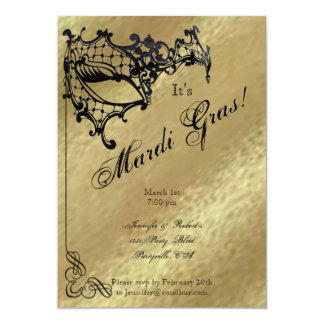 Filigree Mask on Gold Mardi Gras Party Card