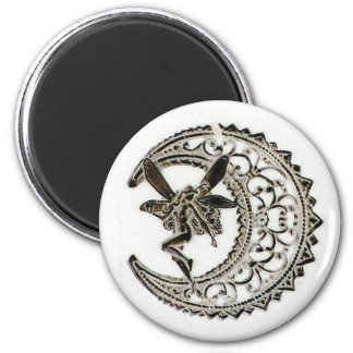 Filigree Moon Fairy 6 Cm Round Magnet