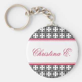 Filigree red black custom name bridesmaid key fob keychains