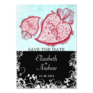 "Filigree Red Heart (black) invitation 5"" X 7"" Invitation Card"